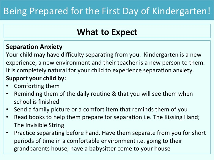 Being prepared for the first day of kindergarten: What to expect