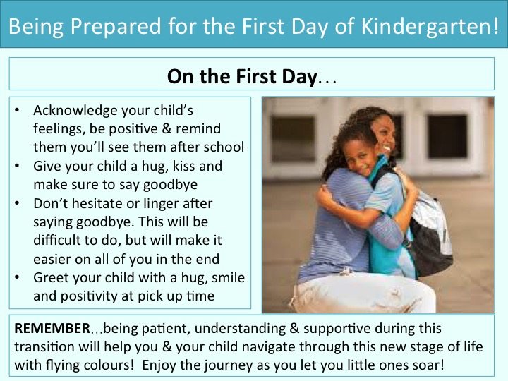 Being prepared for the first day of kindergarten: One the first day