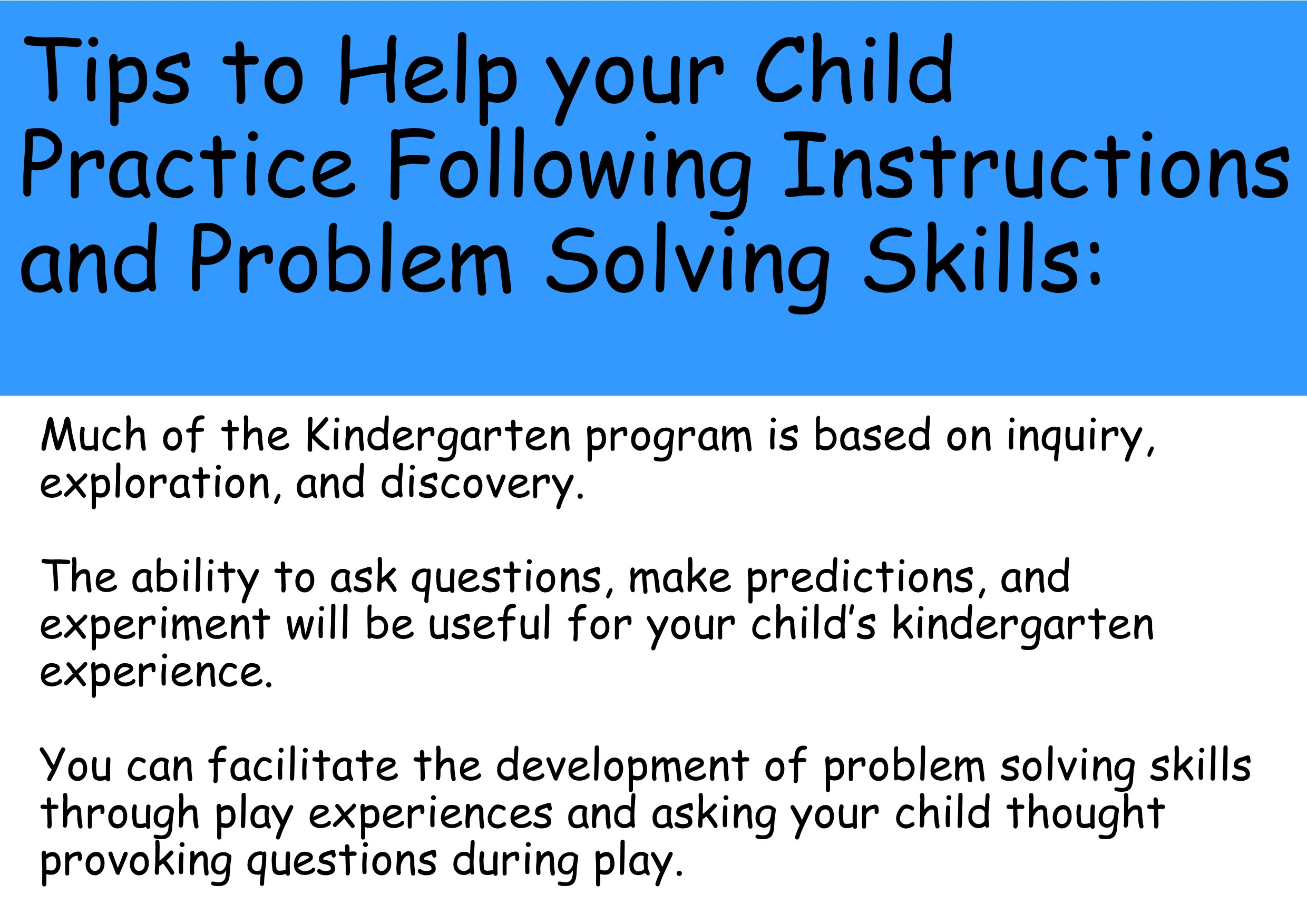 Tips to help your child practice following instructions and problem solving skills