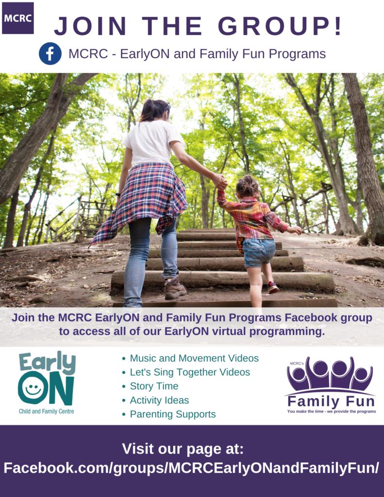 EarlyON Facebook Group flyer