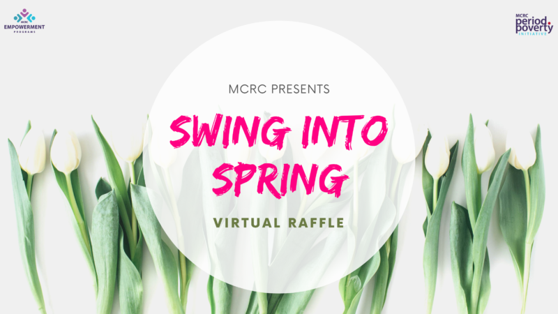 Swing into spring virtual raffle image with tulips background