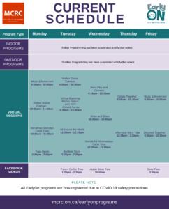EarlyON Schedule 2021