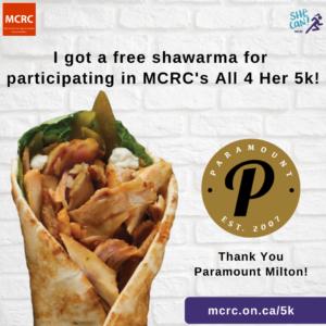 Free shawarma from Paramount MIlton