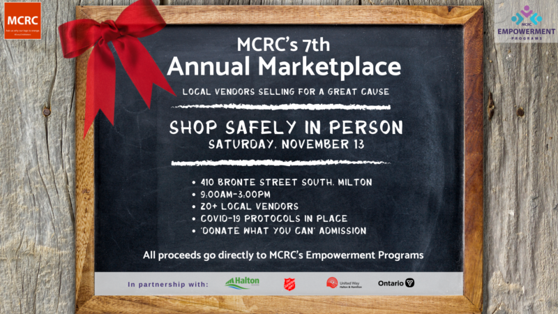2021 Marketplace flyer. chalkboard on wood background with a red bow.